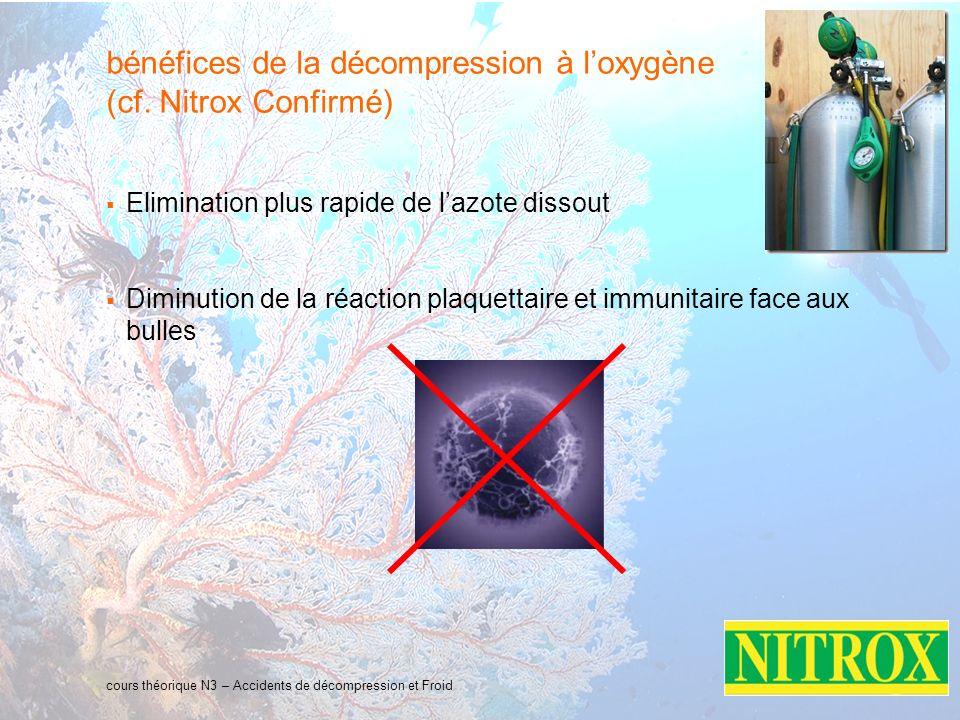 bénéfices de la décompression à l'oxygène (cf. Nitrox Confirmé)