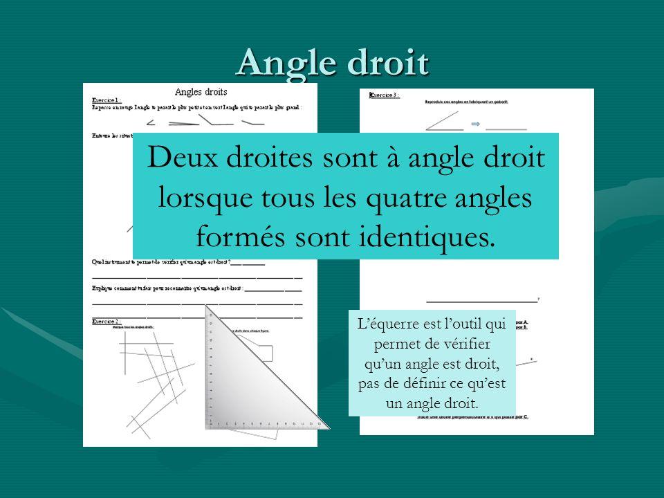 Angle droit Deux droites sont à angle droit lorsque tous les quatre angles formés sont identiques.