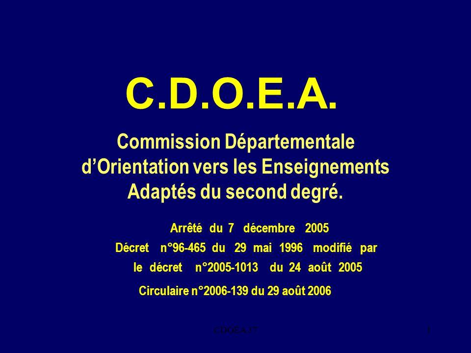 C.D.O.E.A. Commission Départementale d'Orientation vers les Enseignements Adaptés du second degré. Arrêté.