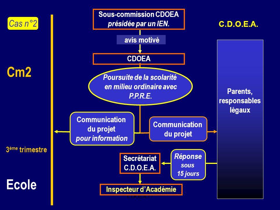 Cm2 Ecole Cas n°2 Sous-commission CDOEA présidée par un IEN.