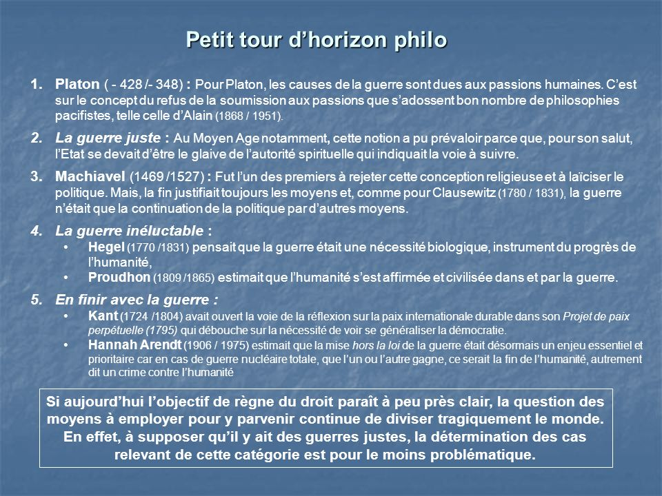 Petit tour d'horizon philo