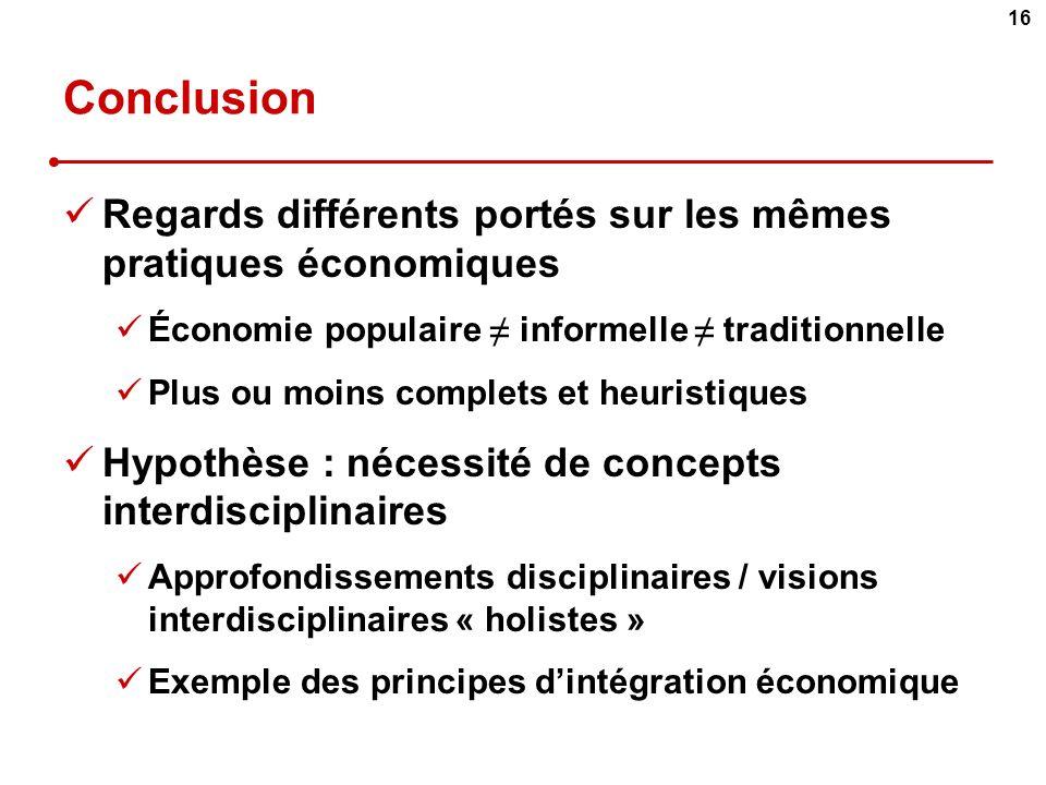 Conclusion Regards différents portés sur les mêmes pratiques économiques. Économie populaire ≠ informelle ≠ traditionnelle.