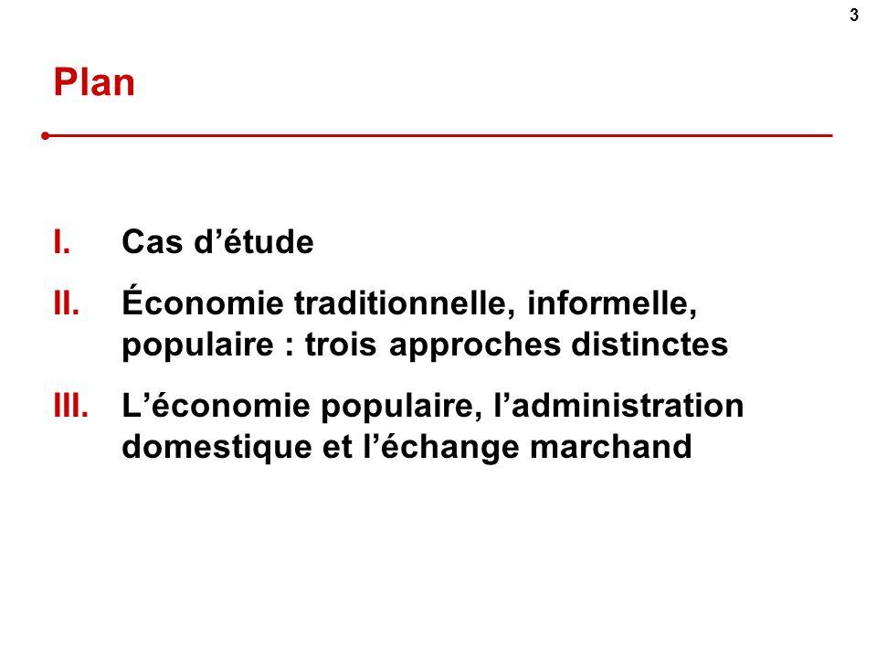 Plan Cas d'étude. Économie traditionnelle, informelle, populaire : trois approches distinctes.