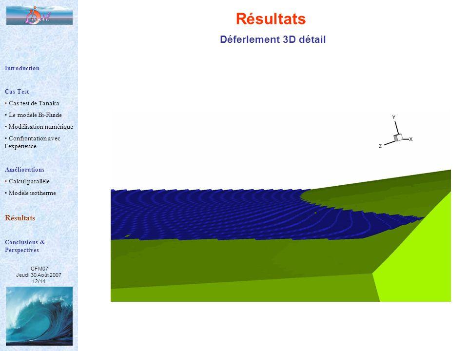 Résultats Déferlement 3D détail Résultats Introduction Cas Test