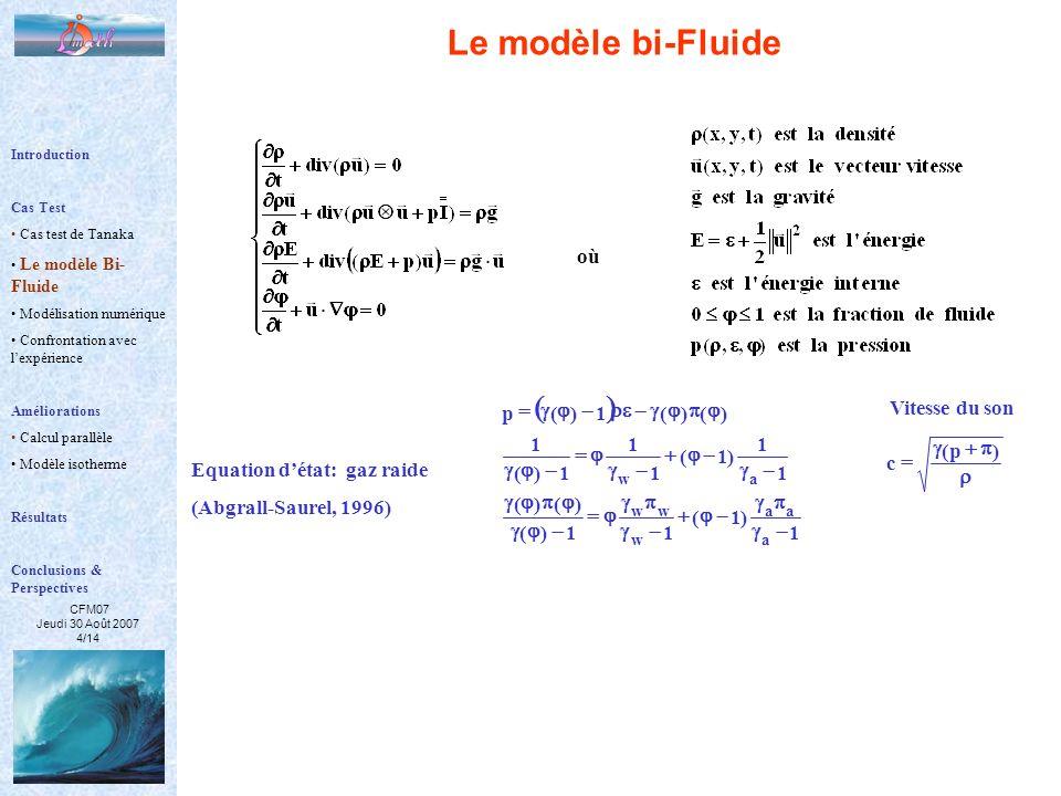 Le modèle bi-Fluide ( ) où Equation d'état: gaz raide