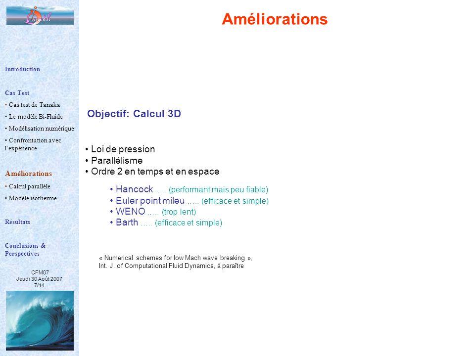 Améliorations Objectif: Calcul 3D Loi de pression Parallélisme