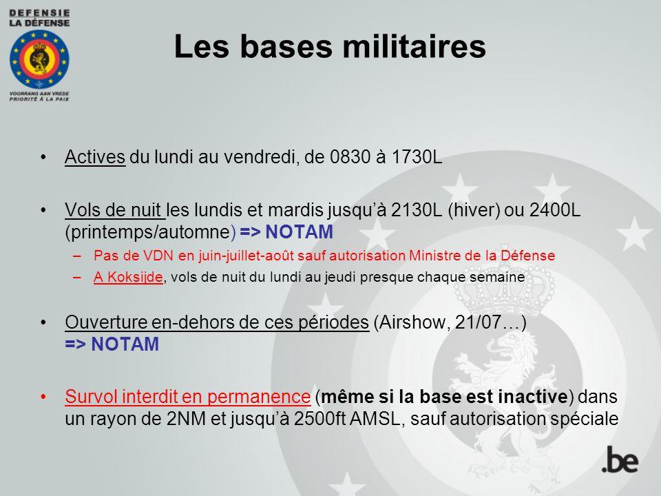 Les bases militaires Actives du lundi au vendredi, de 0830 à 1730L