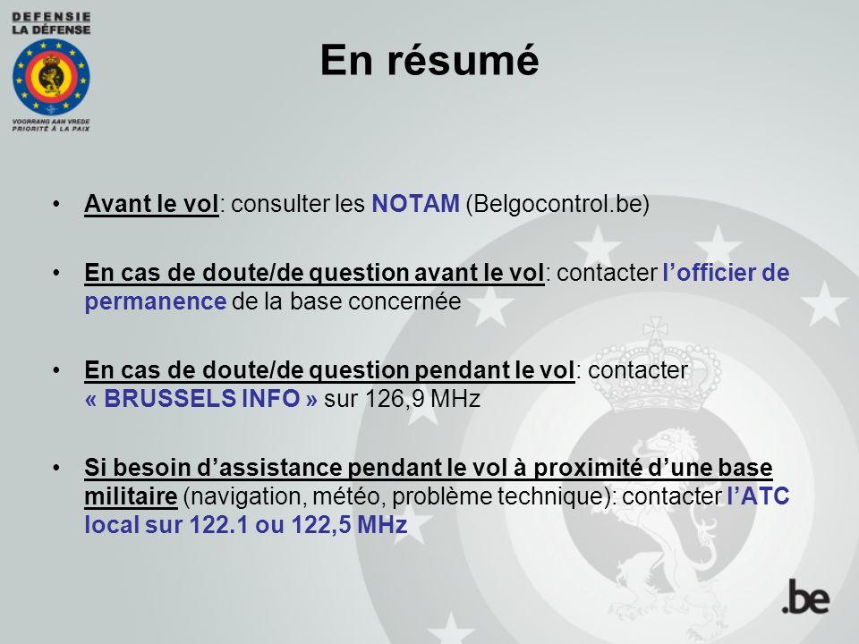 En résumé Avant le vol: consulter les NOTAM (Belgocontrol.be)
