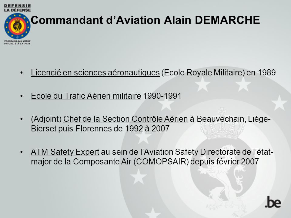 Commandant d'Aviation Alain DEMARCHE