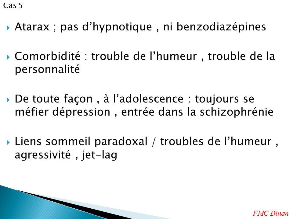 Atarax ; pas d'hypnotique , ni benzodiazépines