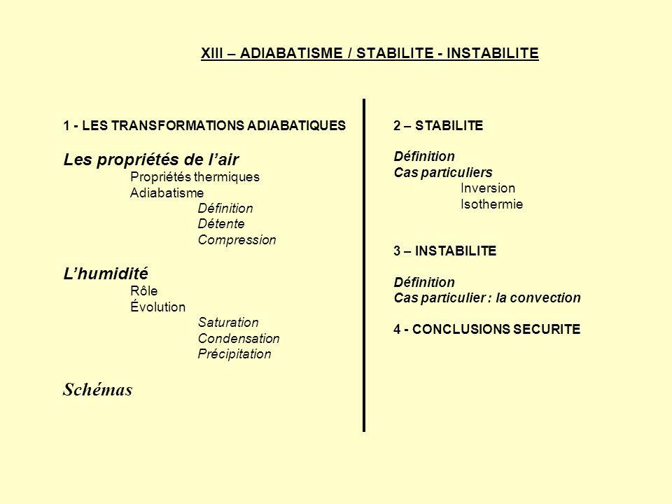 XIII – ADIABATISME / STABILITE - INSTABILITE