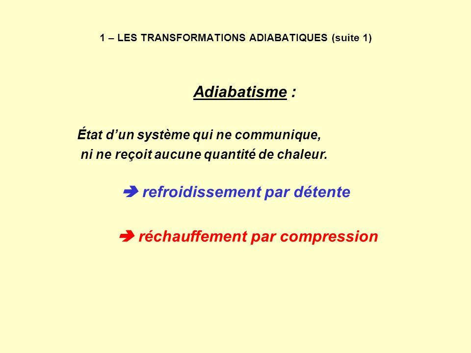 1 – LES TRANSFORMATIONS ADIABATIQUES (suite 1)
