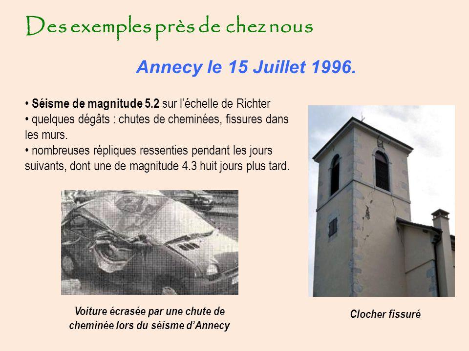 Voiture écrasée par une chute de cheminée lors du séisme d'Annecy