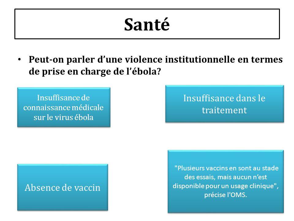 Santé Peut-on parler d'une violence institutionnelle en termes de prise en charge de l'ébola Insuffisance dans le traitement.