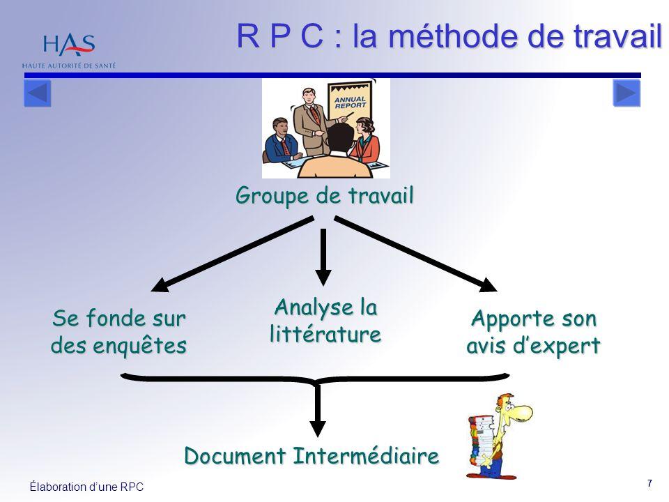 R P C : la méthode de travail