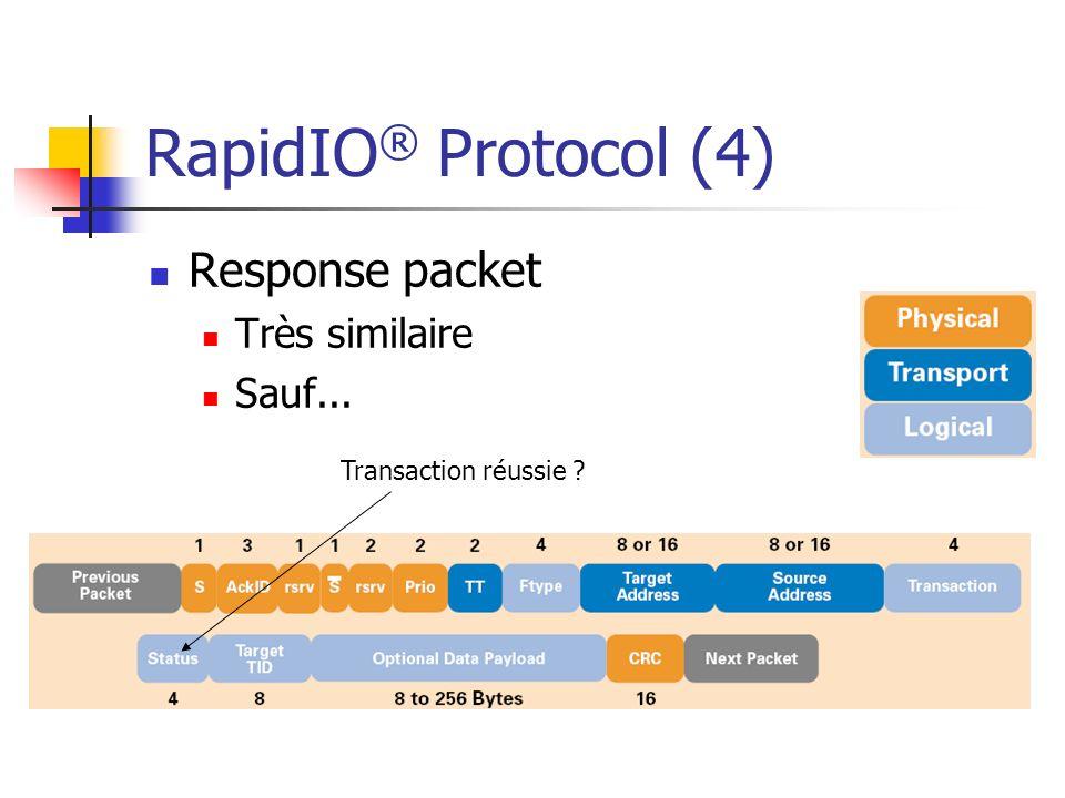 RapidIO® Protocol (4) Response packet Très similaire Sauf...