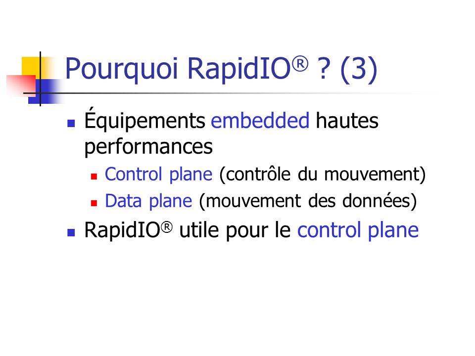 Pourquoi RapidIO® (3) Équipements embedded hautes performances