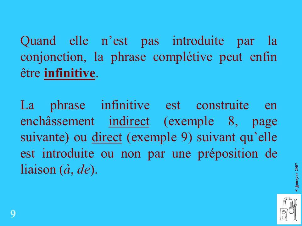 Quand elle n'est pas introduite par la conjonction, la phrase complétive peut enfin être infinitive.