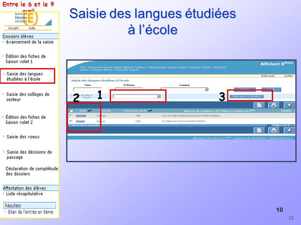 Saisie des langues étudiées à l'école