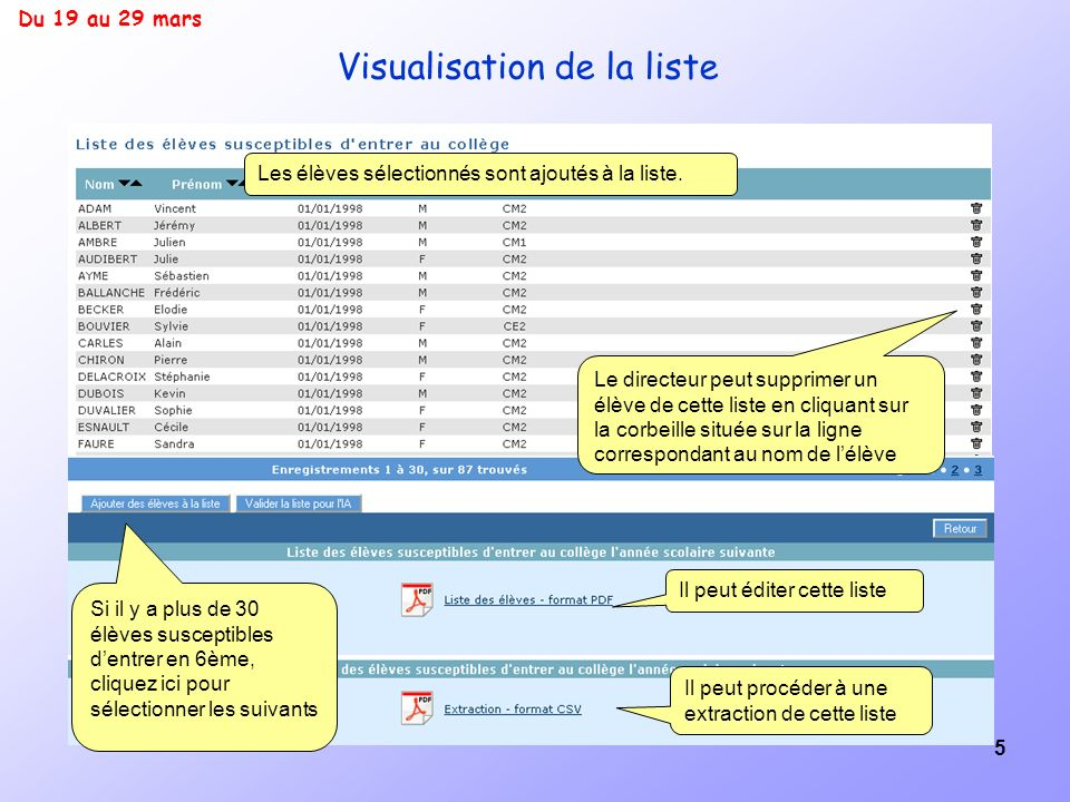 Visualisation de la liste