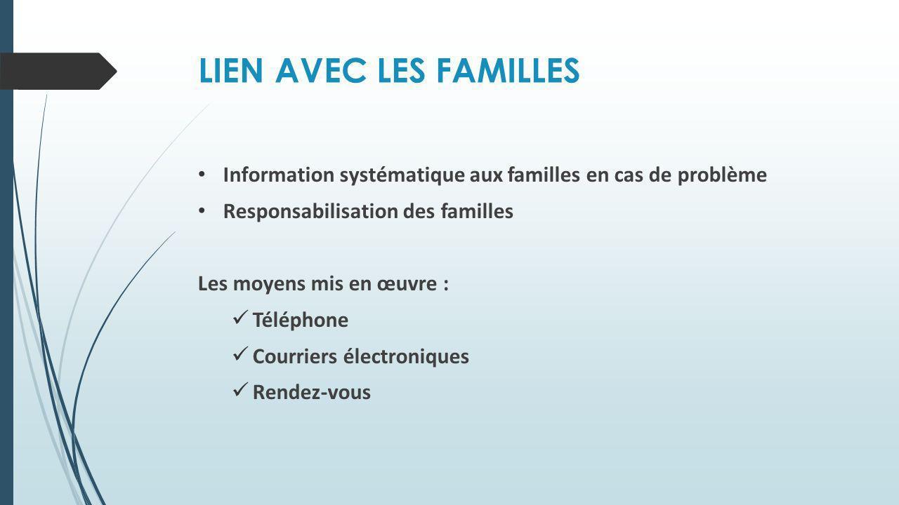 LIEN AVEC LES FAMILLES Information systématique aux familles en cas de problème. Responsabilisation des familles.