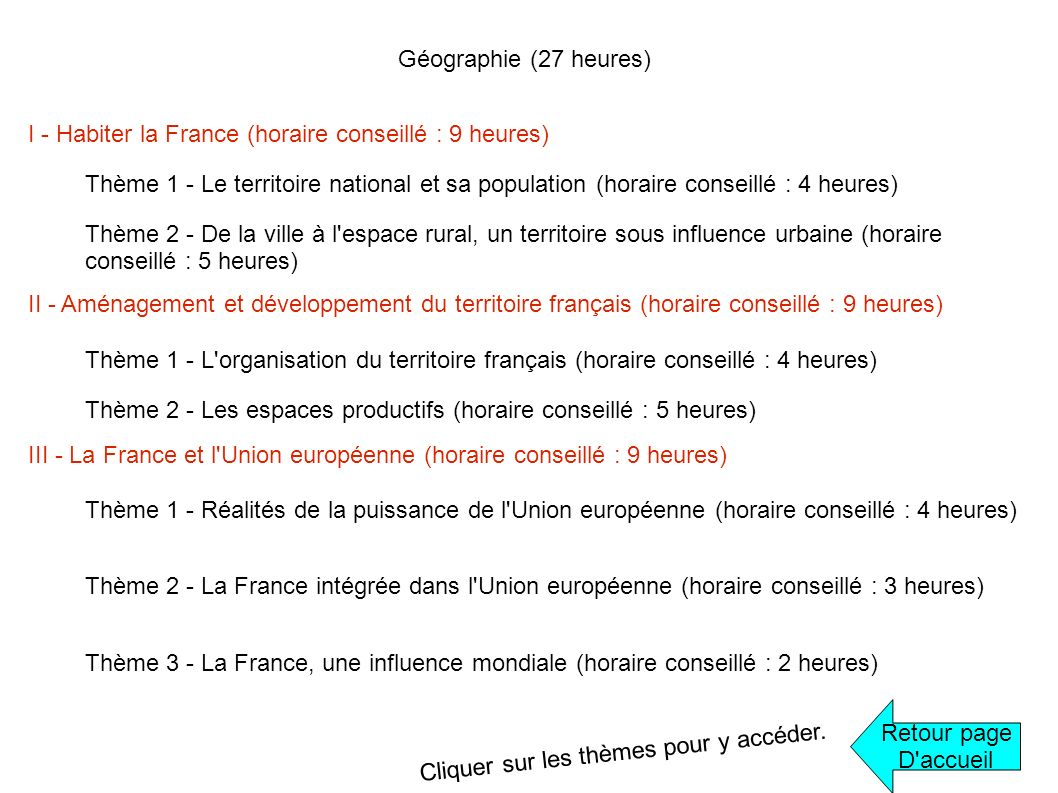 Géographie (27 heures) I - Habiter la France (horaire conseillé : 9 heures)