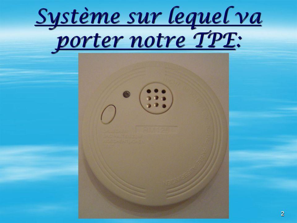 Système sur lequel va porter notre TPE:
