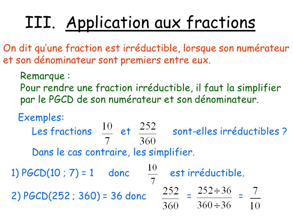 III. Application aux fractions