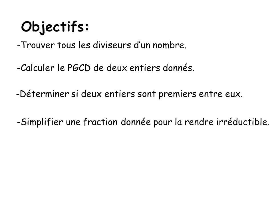 Objectifs: Trouver tous les diviseurs d'un nombre.
