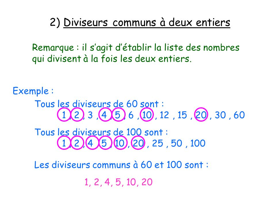 2) Diviseurs communs à deux entiers
