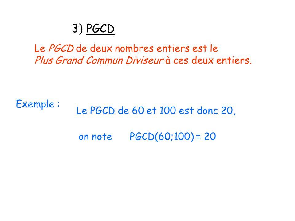 3) PGCD Le PGCD de deux nombres entiers est le