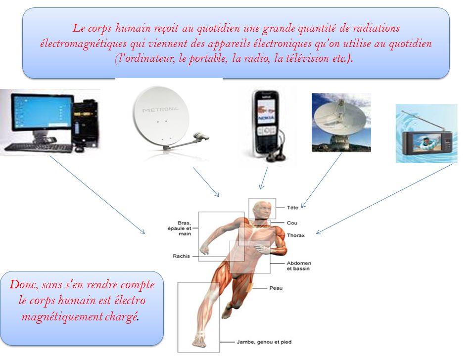 Le corps humain reçoit au quotidien une grande quantité de radiations électromagnétiques qui viennent des appareils électroniques qu on utilise au quotidien (l ordinateur, le portable, la radio, la télévision etc.).