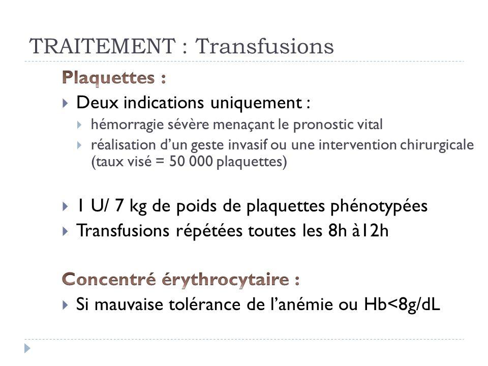 TRAITEMENT : Transfusions