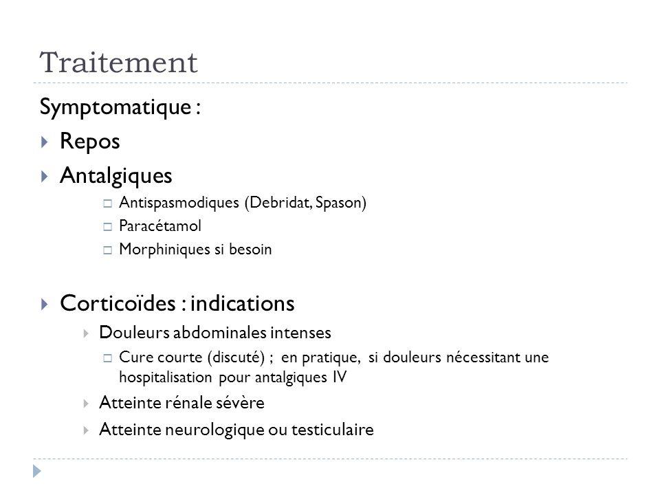 Traitement Symptomatique : Repos Antalgiques Corticoïdes : indications