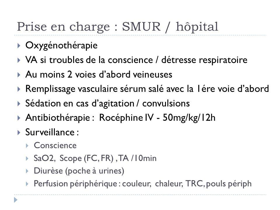 Prise en charge : SMUR / hôpital