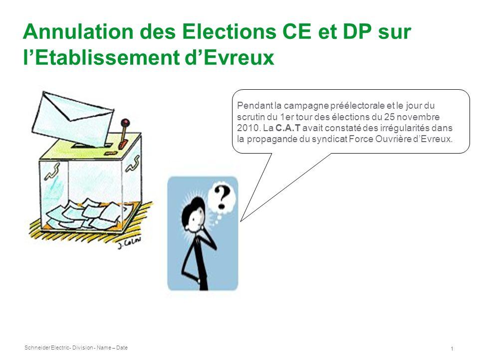 Annulation des Elections CE et DP sur l'Etablissement d'Evreux