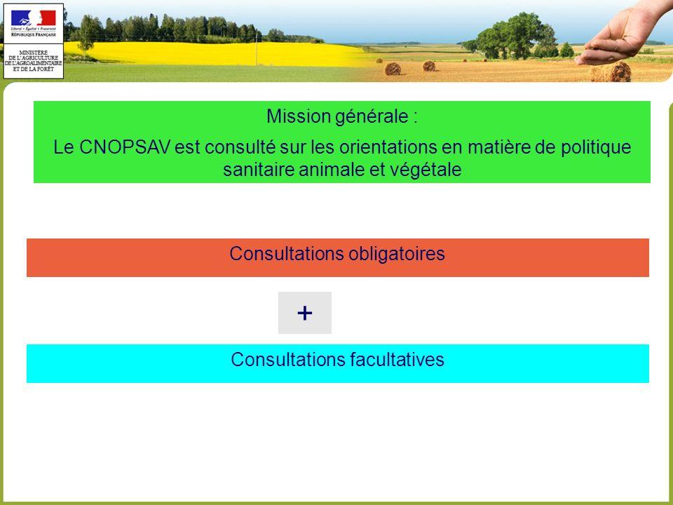 Mission générale : Le CNOPSAV est consulté sur les orientations en matière de politique sanitaire animale et végétale.