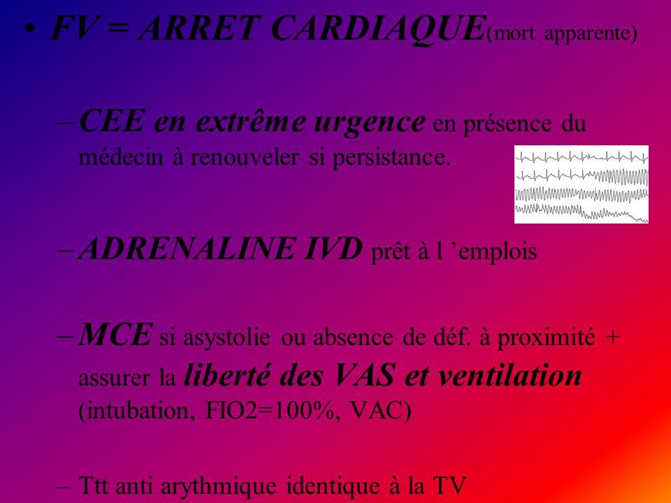 FV = ARRET CARDIAQUE(mort apparente)