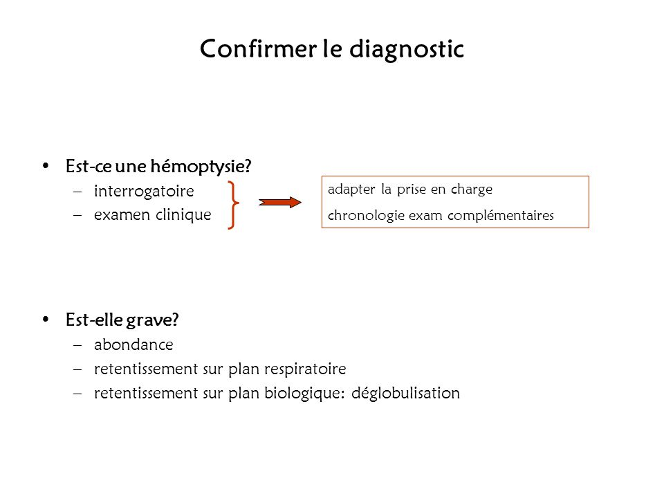 Confirmer le diagnostic