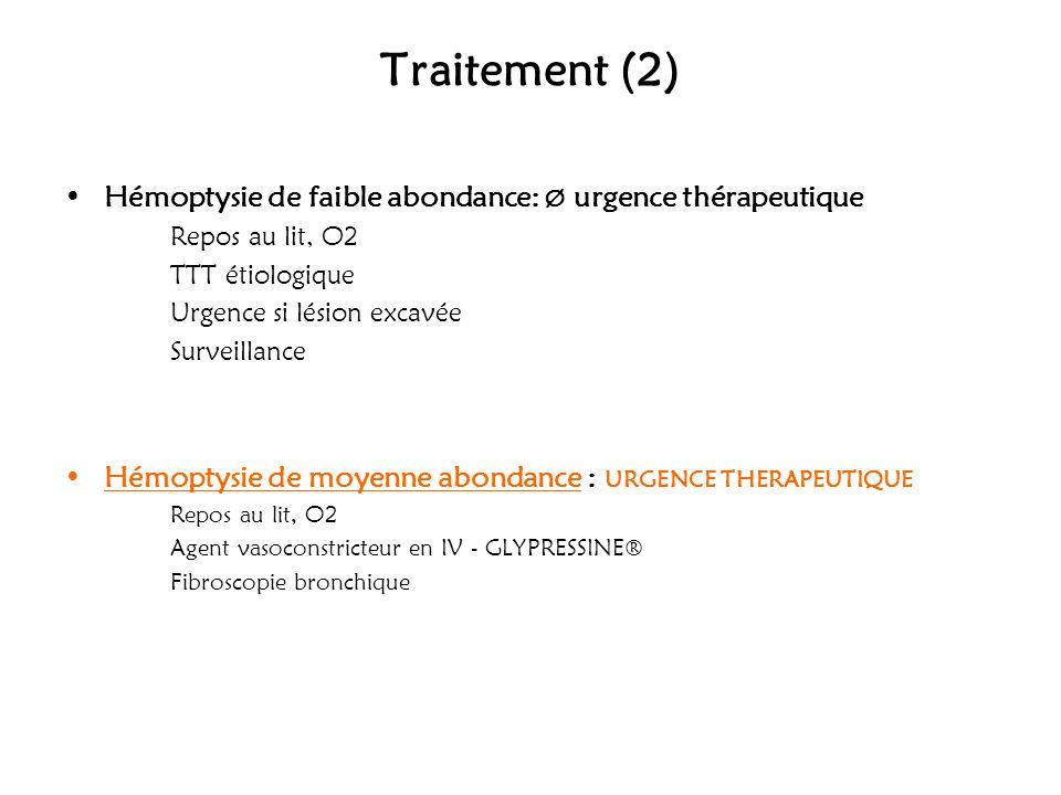 Traitement (2) Hémoptysie de faible abondance: Ø urgence thérapeutique