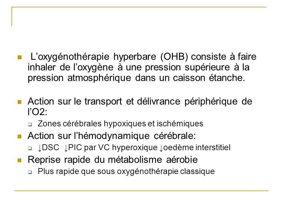 L'oxygénothérapie hyperbare (OHB) consiste à faire inhaler de l'oxygène à une pression supérieure à la pression atmosphérique dans un caisson étanche.