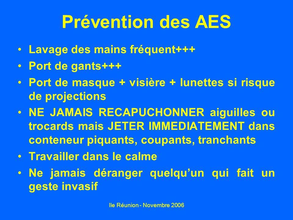 Prévention des AES Lavage des mains fréquent+++ Port de gants+++
