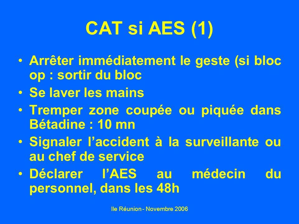 CAT si AES (1) Arrêter immédiatement le geste (si bloc op : sortir du bloc. Se laver les mains. Tremper zone coupée ou piquée dans Bétadine : 10 mn.