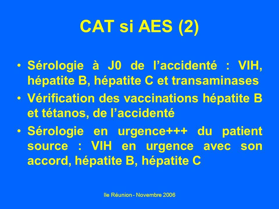 CAT si AES (2) Sérologie à J0 de l'accidenté : VIH, hépatite B, hépatite C et transaminases.