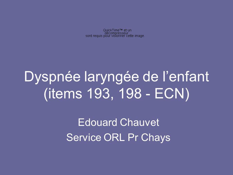 Dyspnée laryngée de l'enfant (items 193, 198 - ECN)
