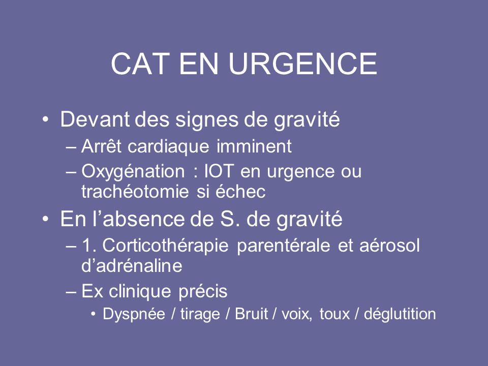 CAT EN URGENCE Devant des signes de gravité