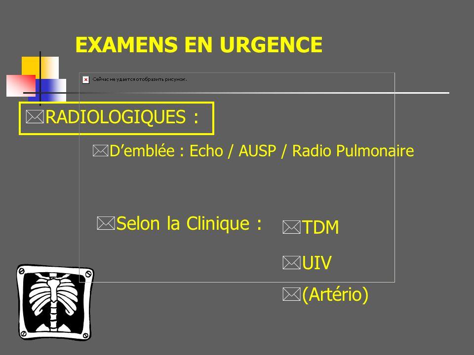 EXAMENS EN URGENCE RADIOLOGIQUES : Selon la Clinique : TDM UIV