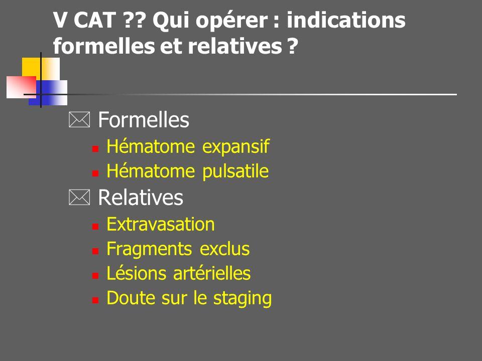 V CAT Qui opérer : indications formelles et relatives