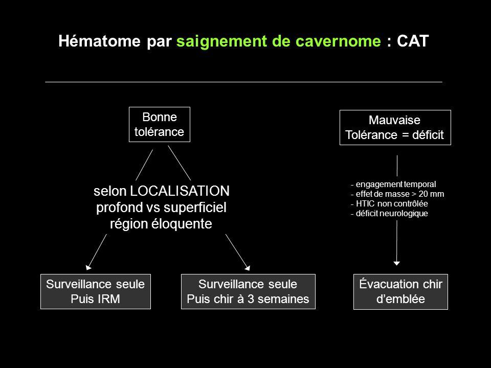 Hématome par saignement de cavernome : CAT