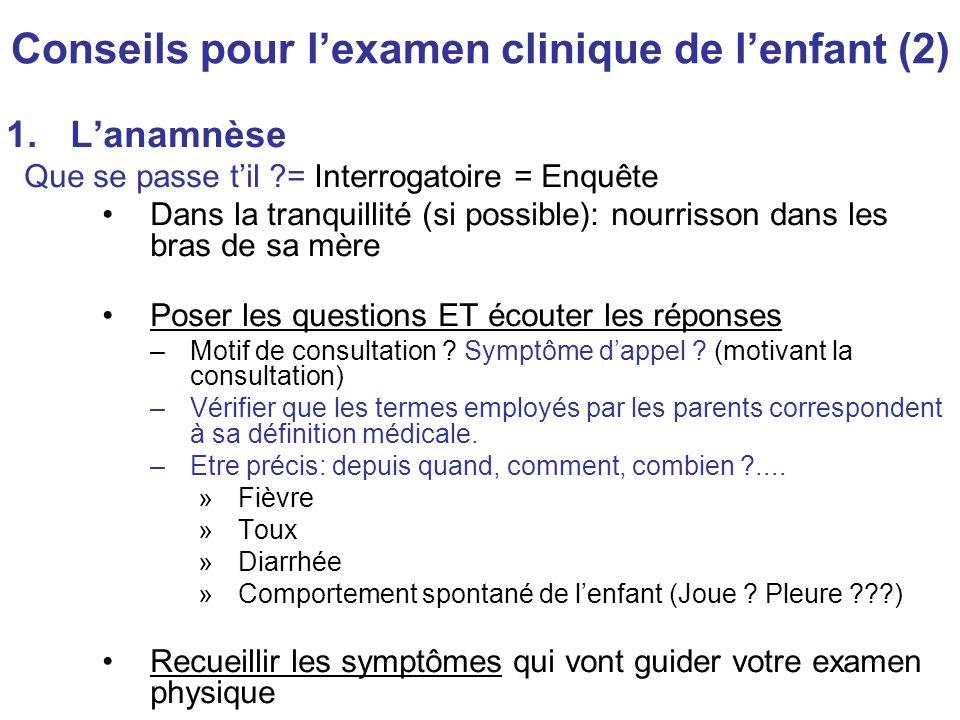 Conseils pour l'examen clinique de l'enfant (2)